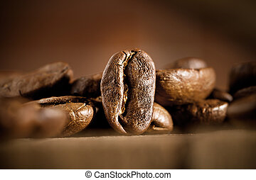 beans of coffee on dark background