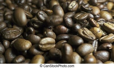 Beans of Coffee Raining at Slow Motion.