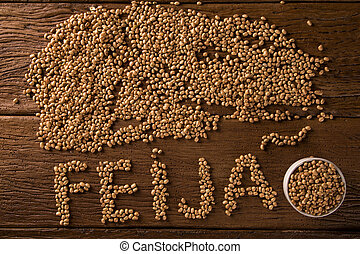 beans on wooden background