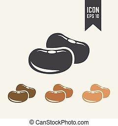 Beans seed isolated vector icon, dried fruit icon