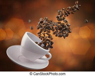 beans., tazza caffè, text., spazio