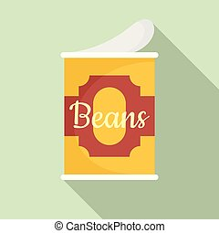 Beans tin can icon, flat style