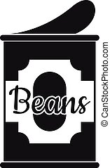 Beans tin can icon, simple style