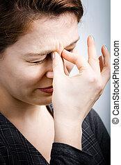 beanspruchen, begriff, schmerz, -, frau, gesundheit, kopfschmerzen