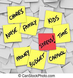 beanspruchen, belastungen, notizen, mahnungen, leben, ...