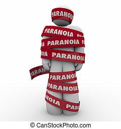 beanspruchen, wort, paranoia, besorgt, band, aufgewickelt, sorge, mann