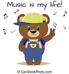 Bear a brown musician in a baseball cap, headphones and blue overalls stands with a raised hand in the style of cartoons.