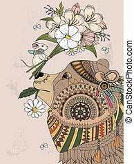 bear adult coloring page