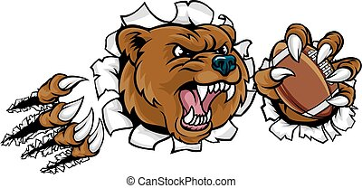 Bear American Football Ball Breaking Background