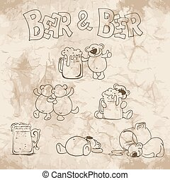 Bear and beer on the old paper