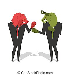 Bear and bull are boxing. Traders fight. Businessmen combat in business suit and boxing gloves. Battle of red and green bear bull. Allegory illustration for business infographics