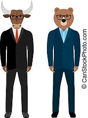 Bear and bull businessmen traders