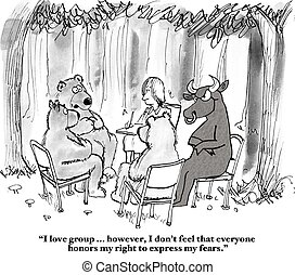 Bear and Bull in Therapy - Stock market cartoon about a bear...
