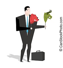 Bear and bull mask in hands of businessman trader. Player on stock exchange holds animals head. Change strategy in business valuations