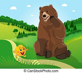 Kolobok and a bear in the background of the forest