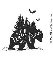 Bear and fir tree