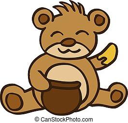Bear and honey cartoon for kids