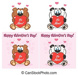 Bear And Panda Cartoon Mascot Character Holding A Valentine Love Heart. Collection Set