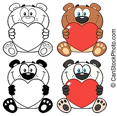 Bear And Panda Cartoon Mascot Characters Holding A Valentine Love Heart. Collection Set