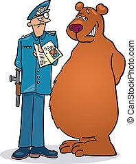 Bear and policeman - Illustration of Policeman checking...