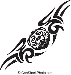 Bear and symmetric tribals - vector illustration. -...