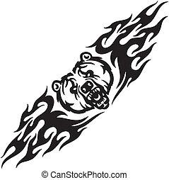 Bear and symmetric tribals - vector illustration. -...