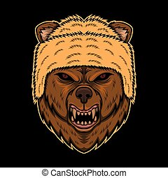 bear angry head vector illustration