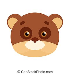 Bear Animal Carnival Mask. Brown and Beige Teddy
