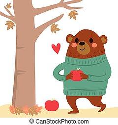 Bear Apples Autumn