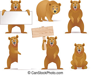 Bear artoon collection - Vector illustration of bear cartoon...