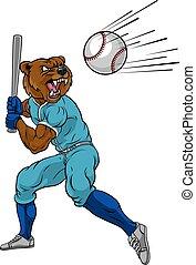 Bear Baseball Player Mascot Swinging Bat at Ball
