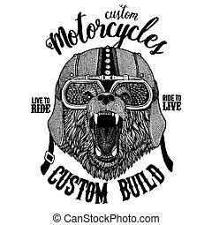Bear Biker, motorcycle animal. Hand drawn image for tattoo,...