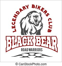 Bear bikers club tee print vector design. T-shirt emblem.