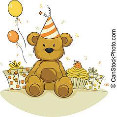 Illustration of a Toy Bear Celebrating its Birthday