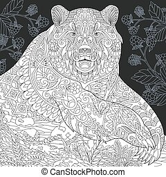 Bear black and white coloring page