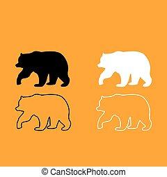 Bear black and white set icon.