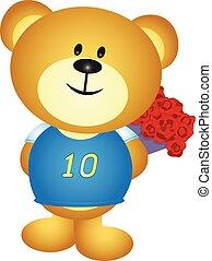 Bear boy cartoon hide a bouquet