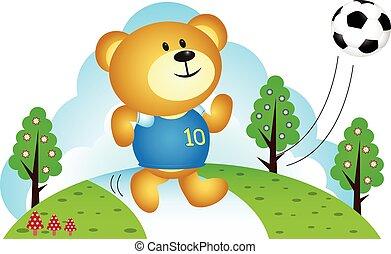 Bear boy playing soccers