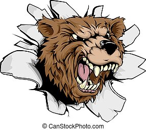 Bear breakthrough concept of a bear character or sports...