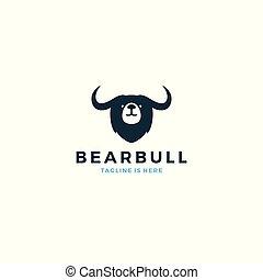 bear bull head face logo vector icon template illustration
