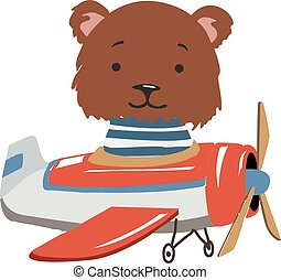 Bear. Cartoon animal fly on a airplane. Image for children clothes, postcards.