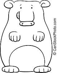 bear cartoon illustration coloring book page