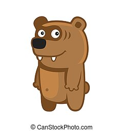 Bear. Cartoon Style Funny Animal on White Background. Vector