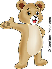 Bear cartoon waving