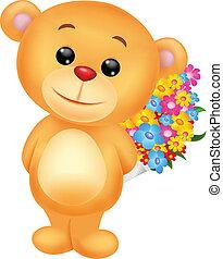 Bear cartoon with flowers