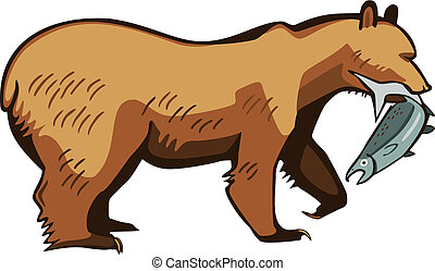Bear catching a fish - Vector illustration of a brown or...