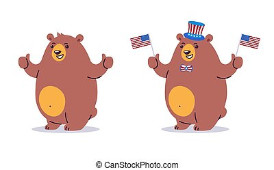 Bear character cartoon with thumbs up. Happy smiling brown bear mascot standing. Vector cartoon illustration