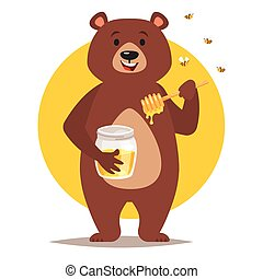 bear character eating honey