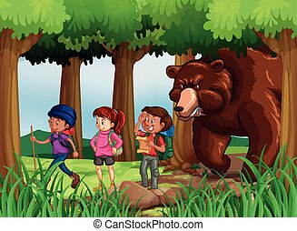 Bear chasing hikers in forest illustration