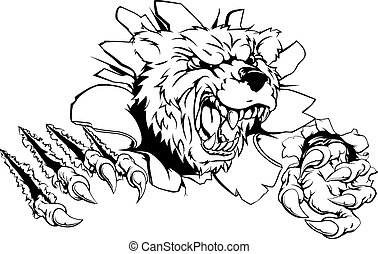 Bear claw breakthrough concept of a bear breaking its way...
